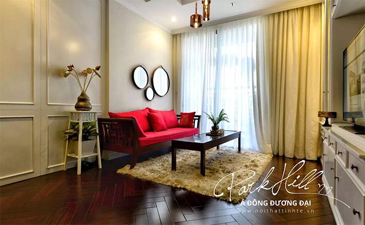 Gương treo tường phòng khách Á Đông