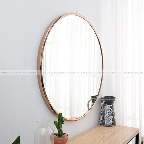Gương tròn Inox - Vàng Hồng (Đồng)