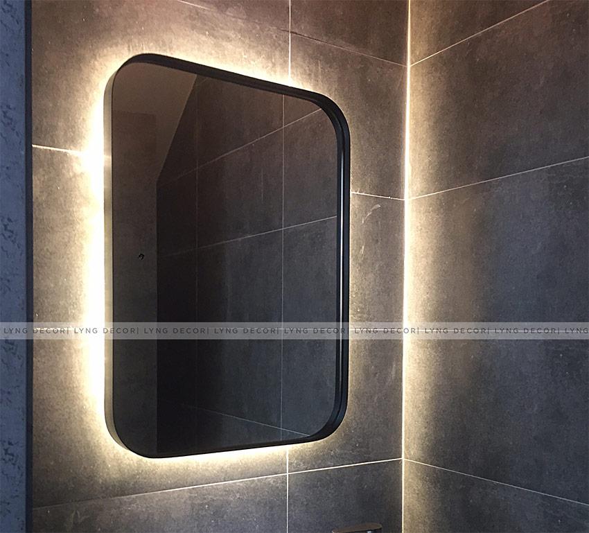 Gương đèn led hắt hình chữ nhật, khung sắt